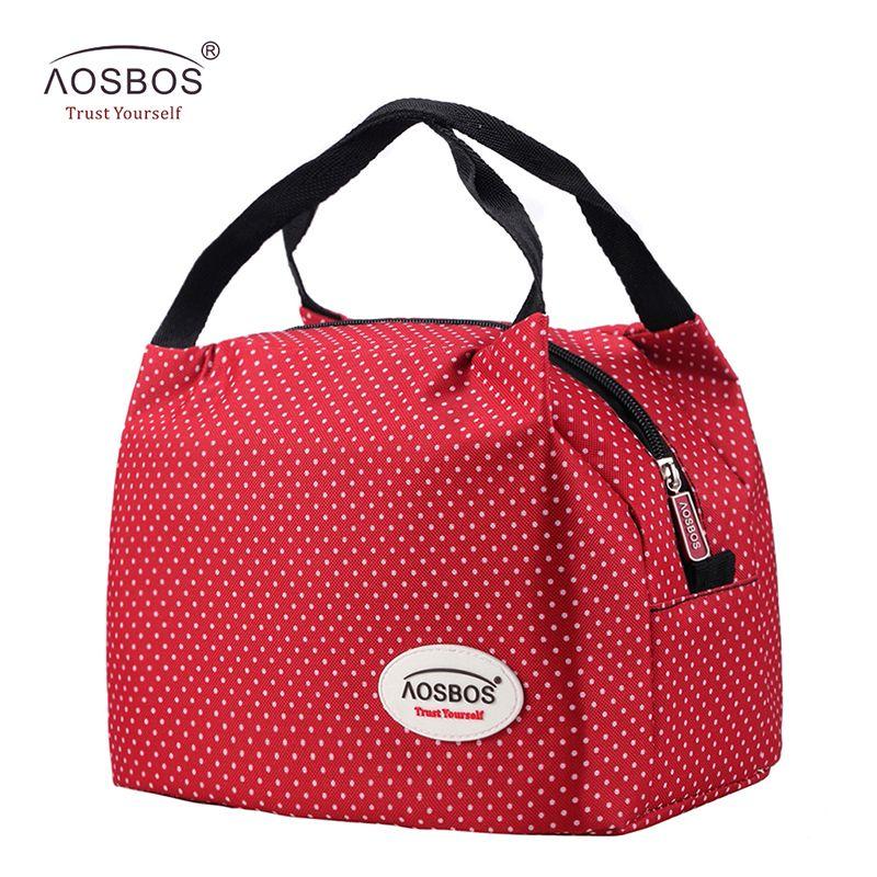 Aosbos Mode Portable Isolation Canevas Sac à lunch Thermique Alimentaire Pique-Nique sacs à lunch pour les Femmes enfants Hommes Refroidisseur sac ou boîte repas Fourre-Tout