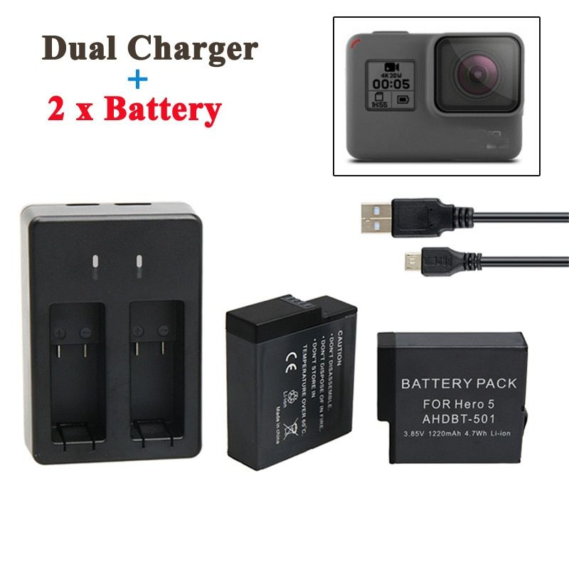 For GoPro Hero 5 Battery 2PCS 1220mAh GoPro 5 Battery + USB Dual Battery Charger For GoPro Hero5 Black Camera Accessories