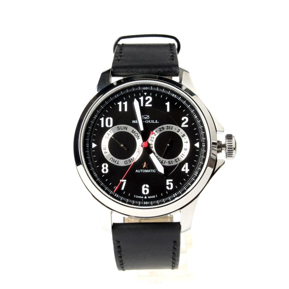 Seagull Automatic Chinese Military Watch 100M Water Resistance Luminous Numerals Black Dial Sea-gull 819.27.1012