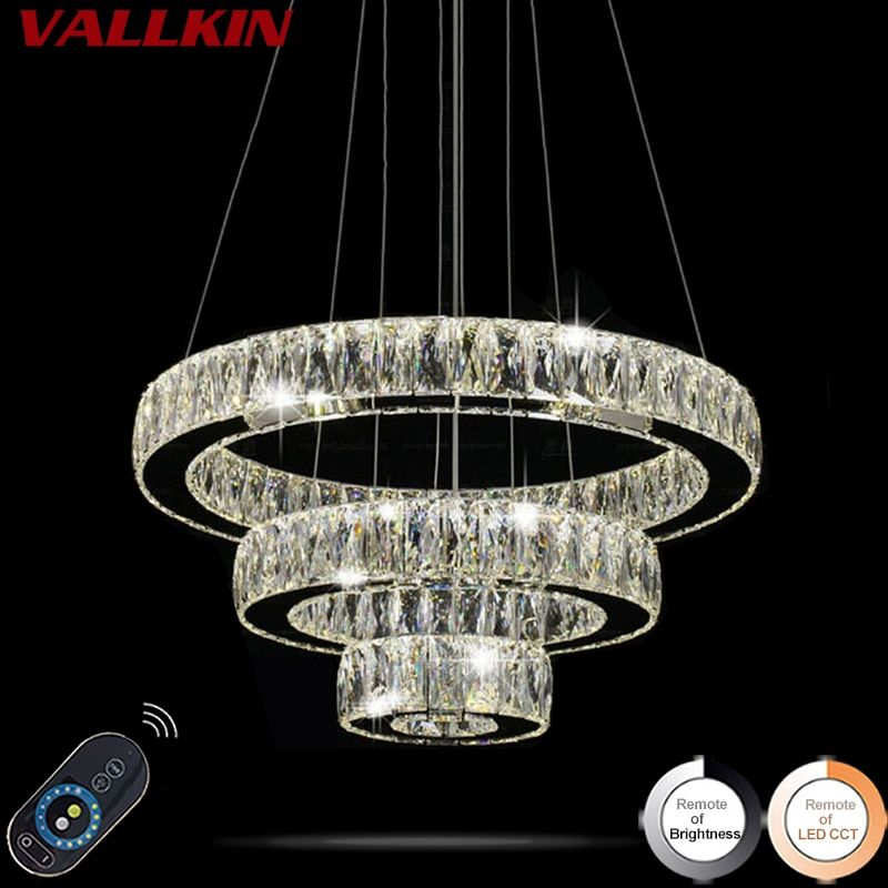 Home Decorative Lighting LED Crystal Pendant Lamp Dimmable Indoor Lamps Chandeliers Modern Lighting Fixtures with Remote Control