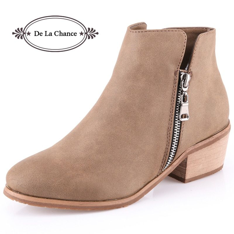 2017 Sexy Warm Cowboy Moto Boots Women Side Zip Thick Heel Ankle Boots Short Leather Booties Winter Motocycle Boots For Women