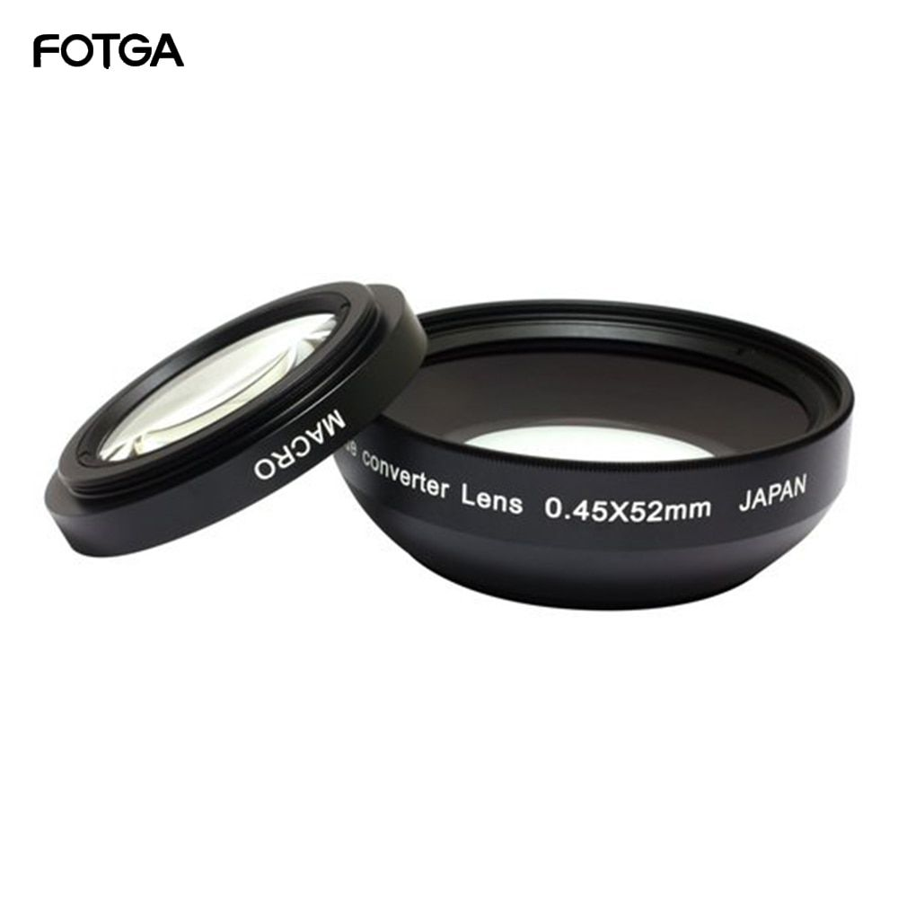 FOTGA 52mm 0.45x objectifs de caméra grand Angle et Macro objectif de Conversion 0.45x52 pour CANON NIKON SONY 52MM objectif