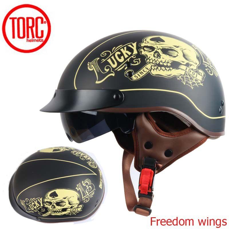 TORC T55 vintage motorcycle helmet retro <font><b>scooter</b></font> half helmet with Built-in lens visor casco moto helm moto capacete para DOT