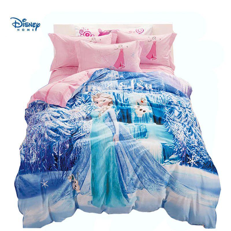 disney princess bedding sets queen full twin single sizes blue elsa print duvet cover girl room decor 3d bed clothes pillow case