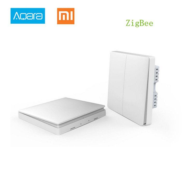 En Stock! 2017 Xiaomi Smart home Aqara contrôle intelligent de la lumière ZiGBee sans fil clé et interrupteur mural Via l'application Smarphone à distance par Xiaomi