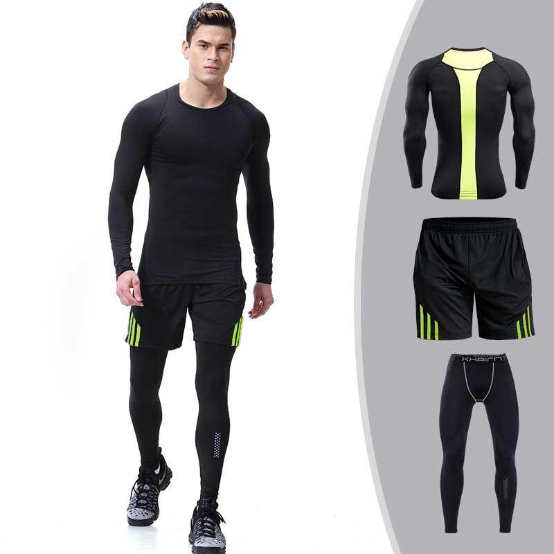 3 stück Männer Quick Dry Kompression Lange Unterhosen Fitness Gymming Männlichen Winter Sporting Läuft Workout Thermische Unterwäsche Sets S104