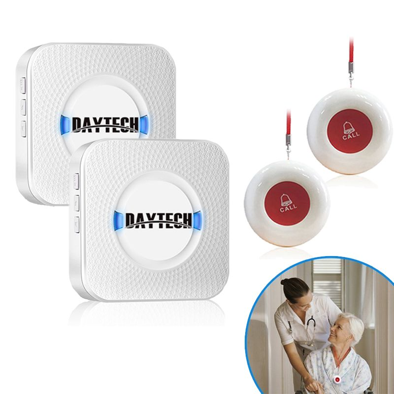 DAYTECH Wireless Patient SOS Call Button Elderly Help Pager Emergency Alarm Home Security DIY Kit Caregiver Calling System