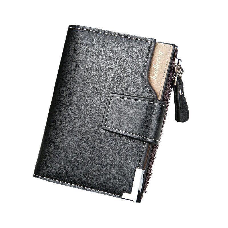 Nouveau numéro en 2018 hommes portefeuille en cuir synthétique polyuréthane sac à main court à fermeture éclair fermeture sac d'argent pour homme d'affaires