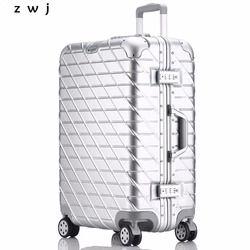 Mode Cadre En Aluminium Chariot Bagages En Aluminium Valise Femmes Voyage Sac Homme bagages À Roulettes