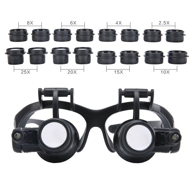 2.5X 4X 6X 8X 10X 15X 20X 25X Multi-Power Illuminated Magnifier Eye Glasses Loupe Jeweler Magnifying Glass with 2LED for Repair