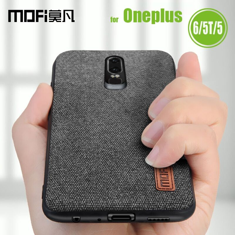Oneplus 6 Case Oneplus 5T Cover Mofi Canvas Fabric Splice Soft Silicone Business Smart Phone Back Cases for One Plus 6 5T Capa