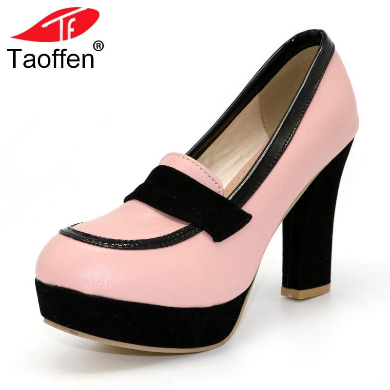 TAOFFEN ladies high heel shoes women sexy dress footwear fashion lady female brand pumps P13025 hot sale EUR size 34-47
