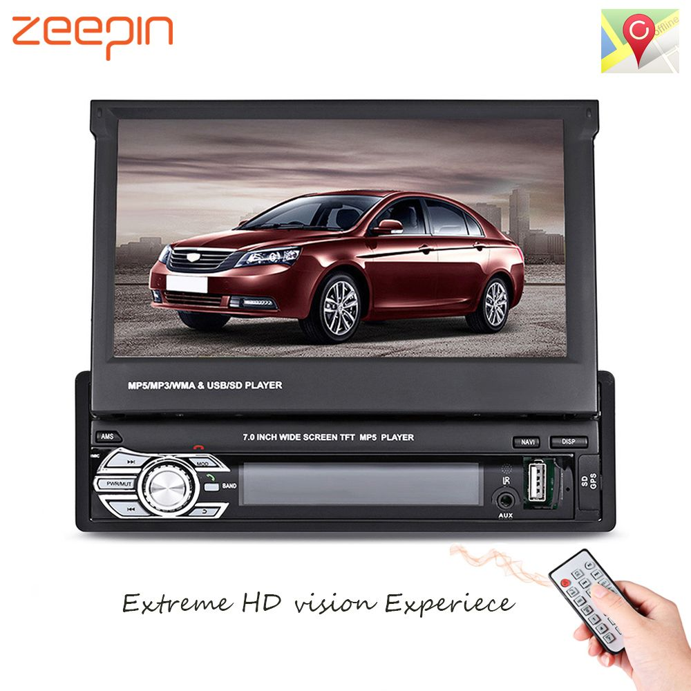 Zeepin 9601G 1 Din Car Video MP5 Player Retractable 7'' HD Touch Screen Bluetooth FM Radio European GPS Map USB Auto Multimedia