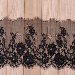 3 м/лот 24 см Ширина Мода Высокое качество ручной работы DIY Черный ресниц кружево отделка, Шантильи ткань