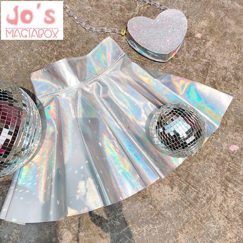 Holographique jupes plissées Femmes PU Solide Harajuku décontracté Sexy Laser Hight Taille Micro Mini Courtes JK Jupes Femmes Arc-En-