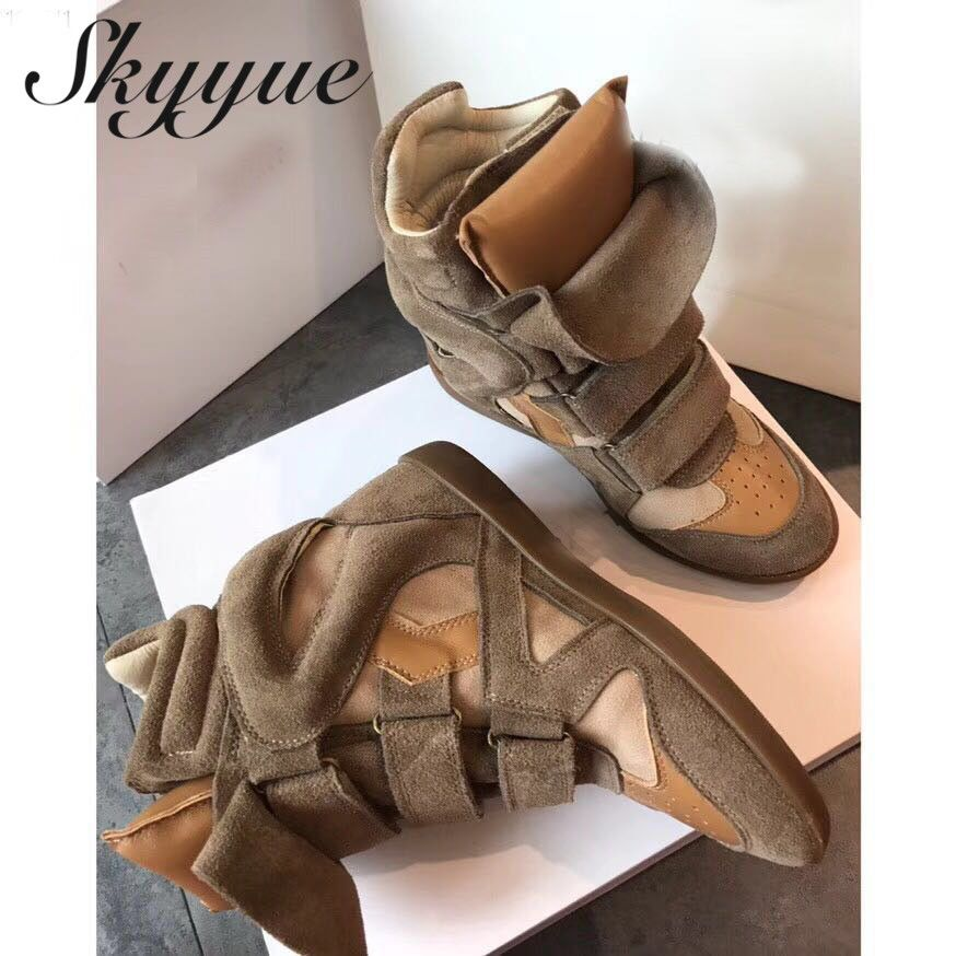 SKYYUE Genuine Leather Suede Leather Bekett Wedge Trainers Shoes Height Increasing Popular Concealed Wedges Autumn Winter Boots