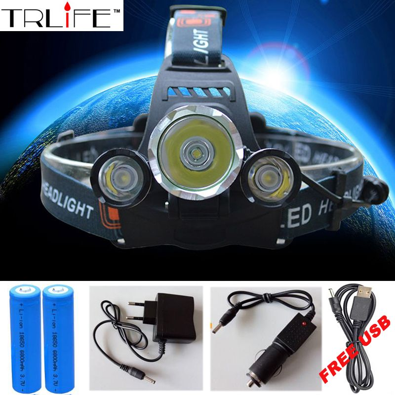 3 LED Headlight 10000 Lumens Cree XM-L T6 Head Lamp High Power LED Headlamp +2pcs 18650 <font><b>Battery</b></font> +Charger+car charger