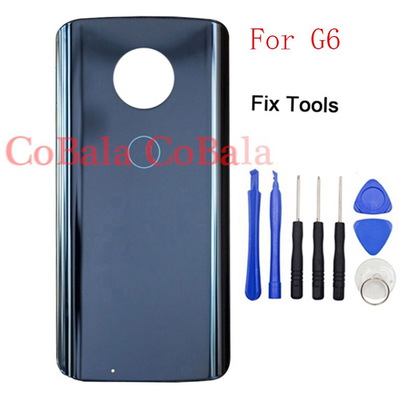 LOVAIN 1Pcs For Motorola Moto G6 Back Battery Cover Rear Glass Panel Door Housing Case With Tools