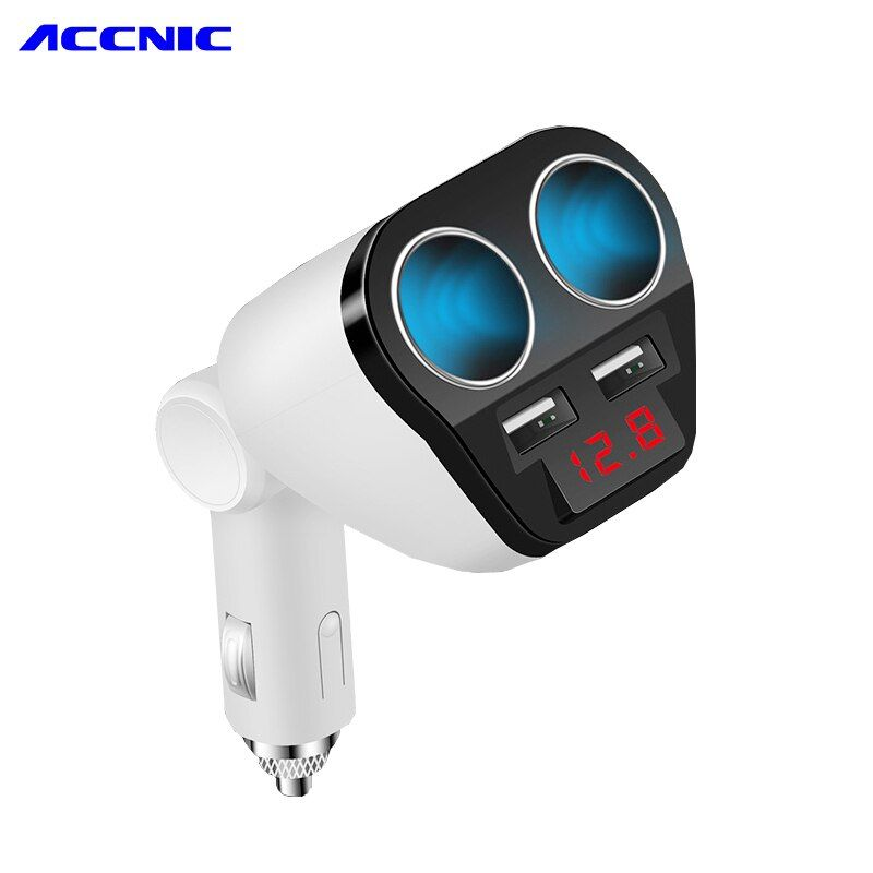 12V-24V Universal 2 USB Car Charger 5V 3.4A with 2 socket cigarette lighter and car voltage diagnostic for Iphone Xiaomi Huawei