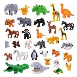Seri Hewan Model Angka Besar Blok Bangunan Hewan Mainan Pendidikan untuk Anak Anak Hadiah Kompatibel dengan Legoed Duploed