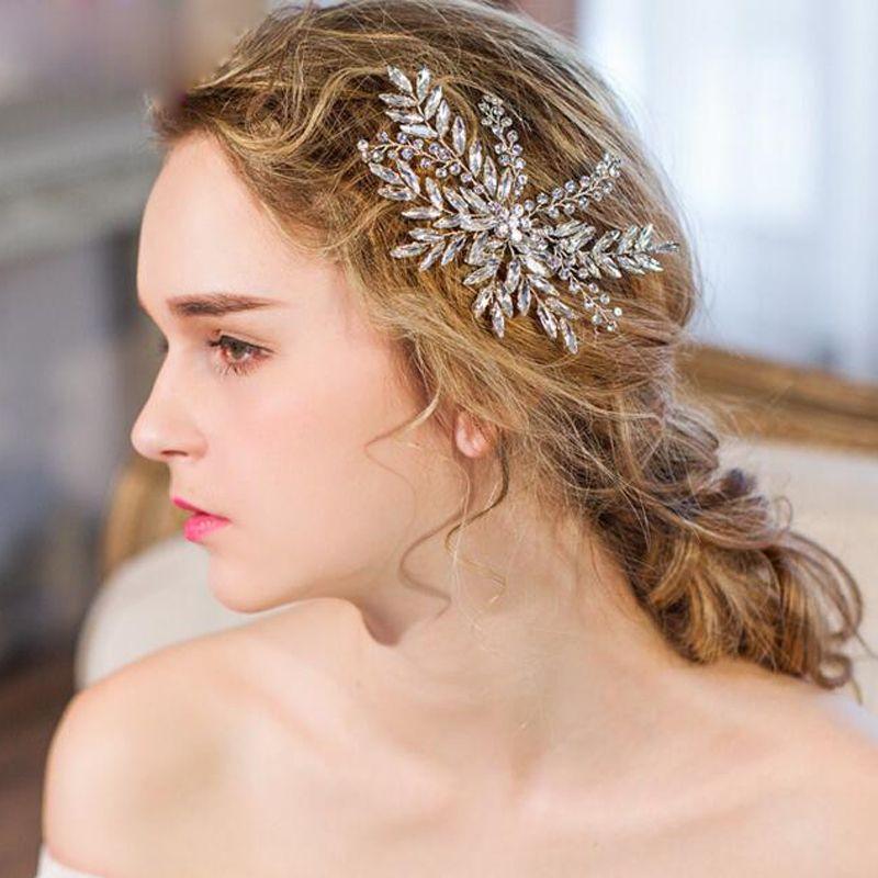 Cristal clair peignes de cheveux de mariée feuilles d'argent accessoires de cheveux de mariée à la main ornements de cheveux de mariage femmes casque de fête