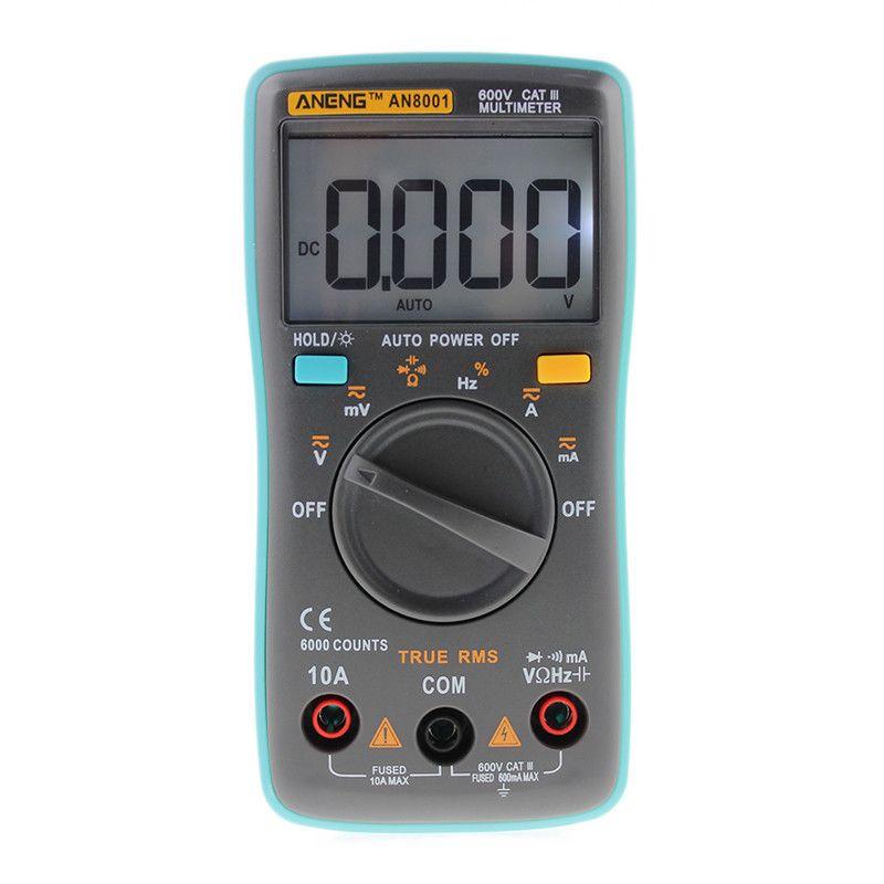 AN8001/AN8002/AN8004 LCD Multimètre Numérique 6000 Points Avec Rétro-Éclairage AC/DC Ampèremètre Voltmètre Ohm Mètre Portatif