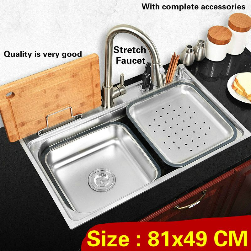 Free shipping Standard individuality luxury big kitchen single trough sink durable food grade stainless steel hot sell 81x49 CM