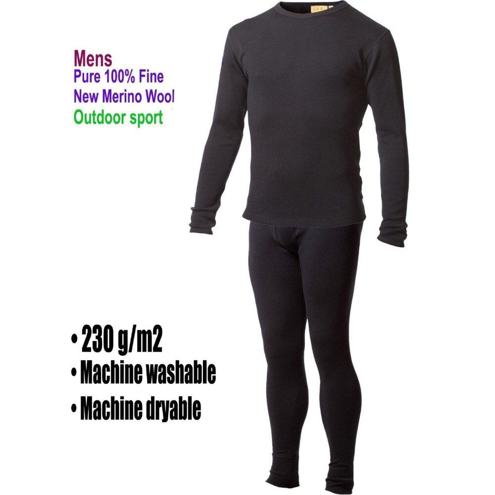 Men's male 100% Pure Merino Wool Winter Base Layer Thermal Warm Sweater Underwear Breathable Mid weight Tops Pants Bottom Set