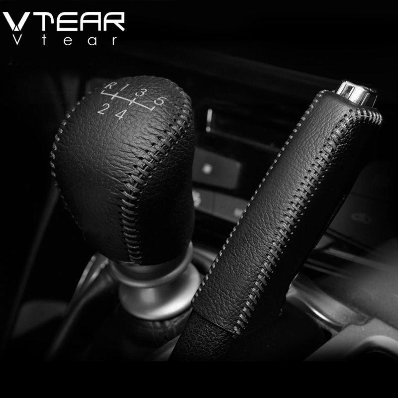 Vtear For Hyundai Solaris 2 Gear Shift Collars Handbrake Grips Interior car-Styling handbrake cover Hand-stitched accessoris