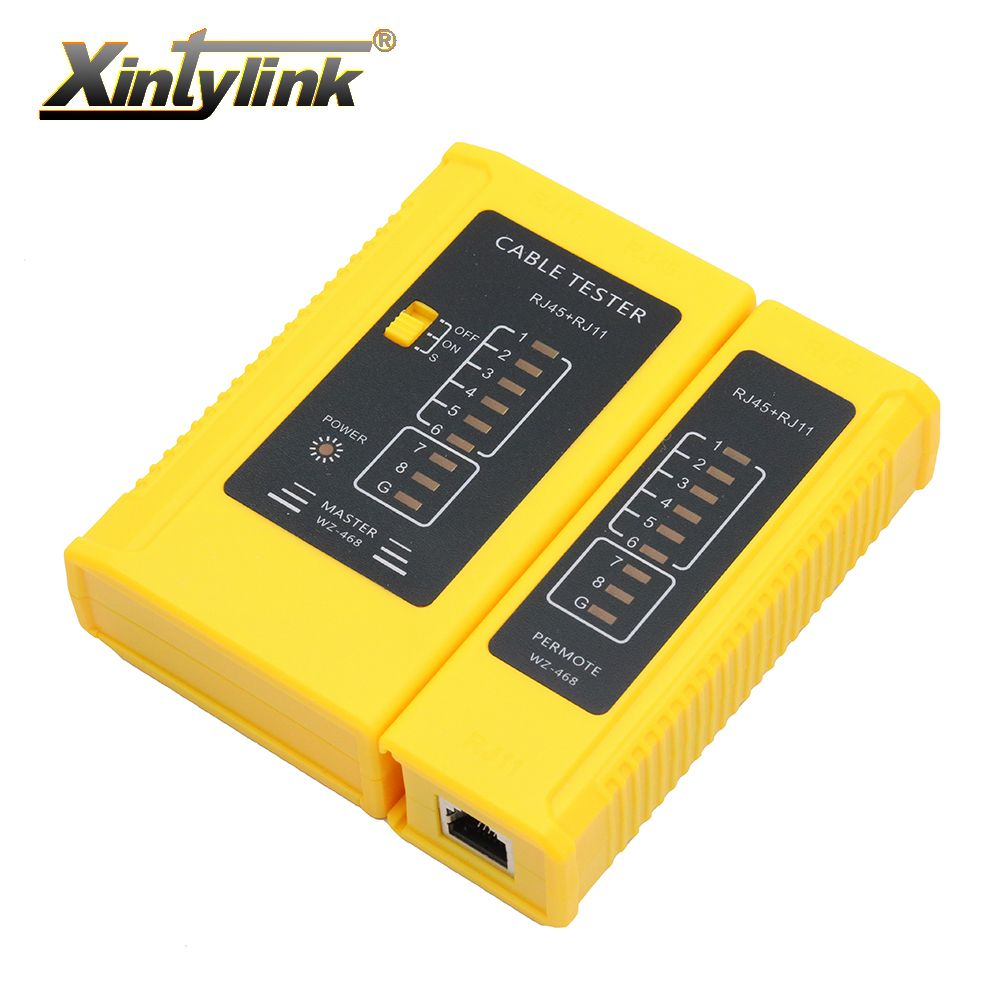 xintylink Network rj45 tester tool wire RJ11 rj12 8p 6p line telephone ethernet cable main remote serial test yellow