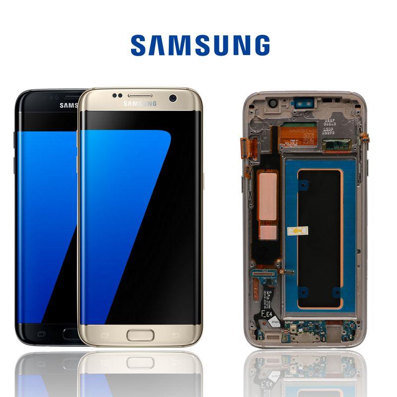 ORIGINAL SUPER AMOLED 5,5 ''Ersatz für SAMSUNG Galaxy s7 rand G935 G935F LCD Display Digitizer Touch Screen Mit Rahmen