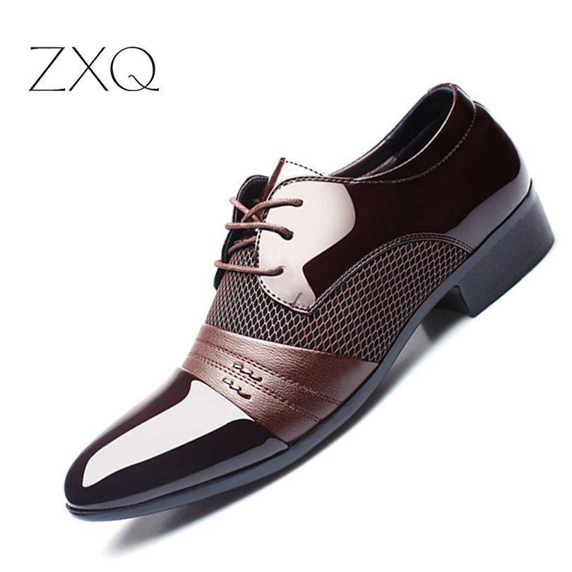 ZXQ Men Dress Shoes <font><b>Plus</b></font> Size 38-47 Men Business Flat Shoes Black Brown Breathable Low Top Men Formal Office Shoes