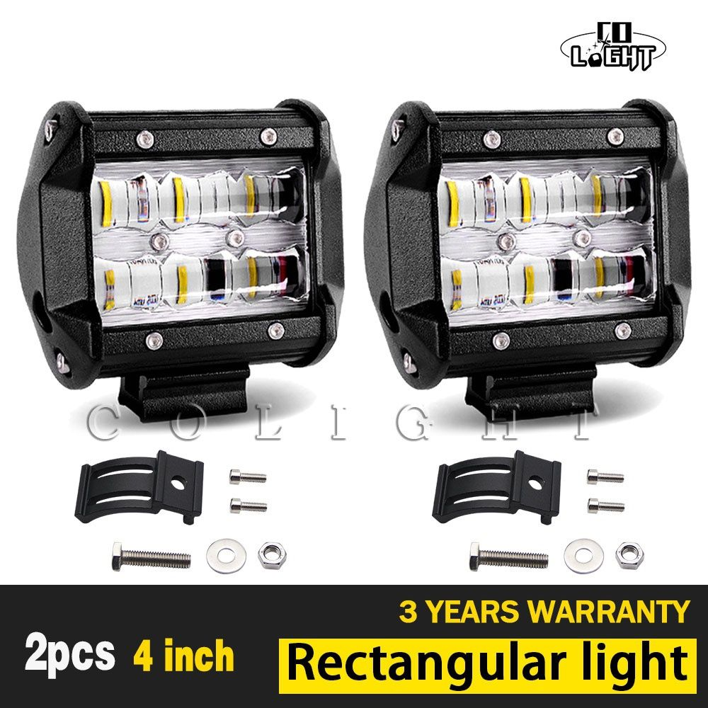 CO LIGHT 1 Pair Led Light Beam 9D Fog Lights 4'' Led Bar for Uaz 4X4 Lada Niva Jeep Tractors Ford 4Wd Driving Car Styling 30W