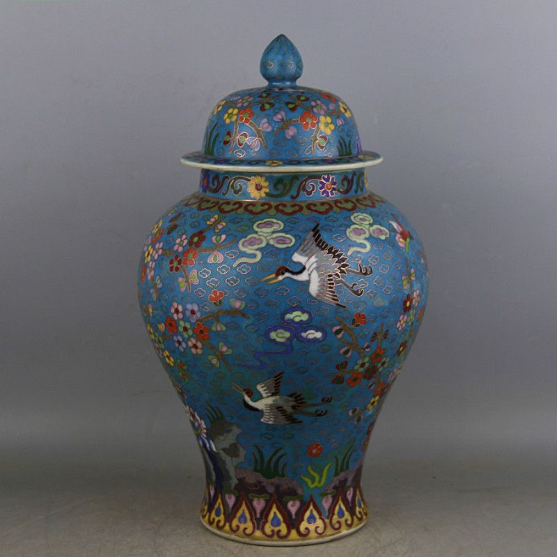 Qing Dynasty Qian Long Enamel Pure Handmade Filigree Birds Flowers Antique Chinese Ceramic Ginger Jar