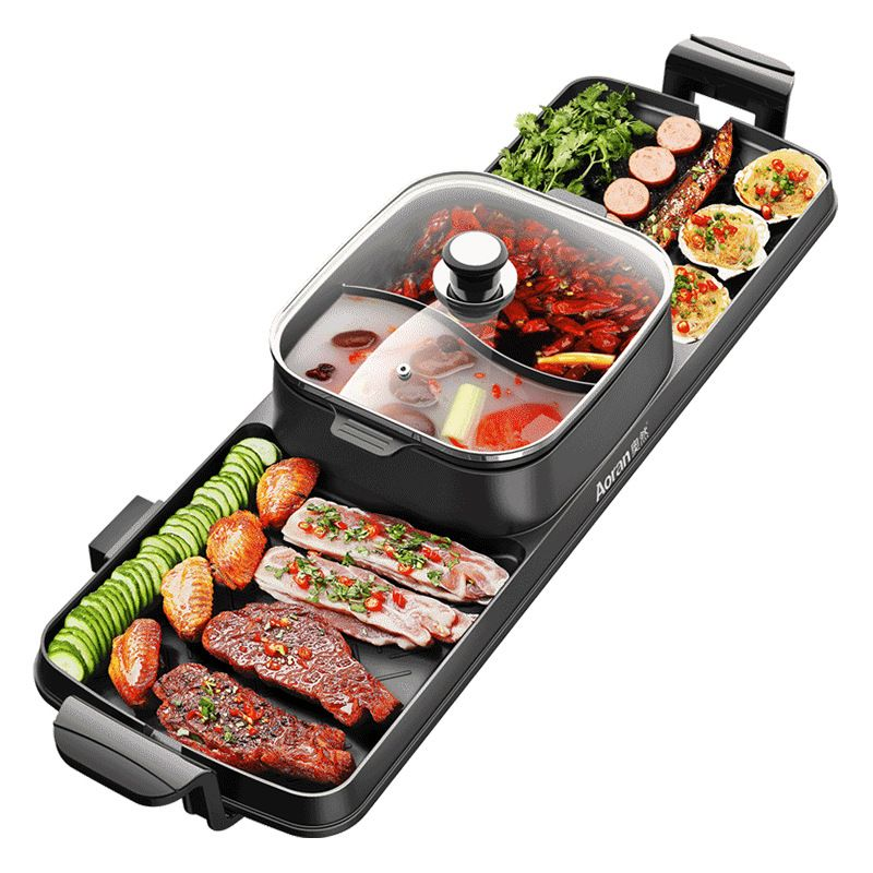 Neue Kochen Backen Integrierte Topf Doppel Control Koreanische Multi Herd Elektrische Backform Backofen Grill Hot Pot Suppe Topf