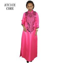 Robes pour les femmes africaines Dashiki Robes bazin riche africain traditionnel des vêtements À Manches Longues Pour dames sans écharpe LA019 #