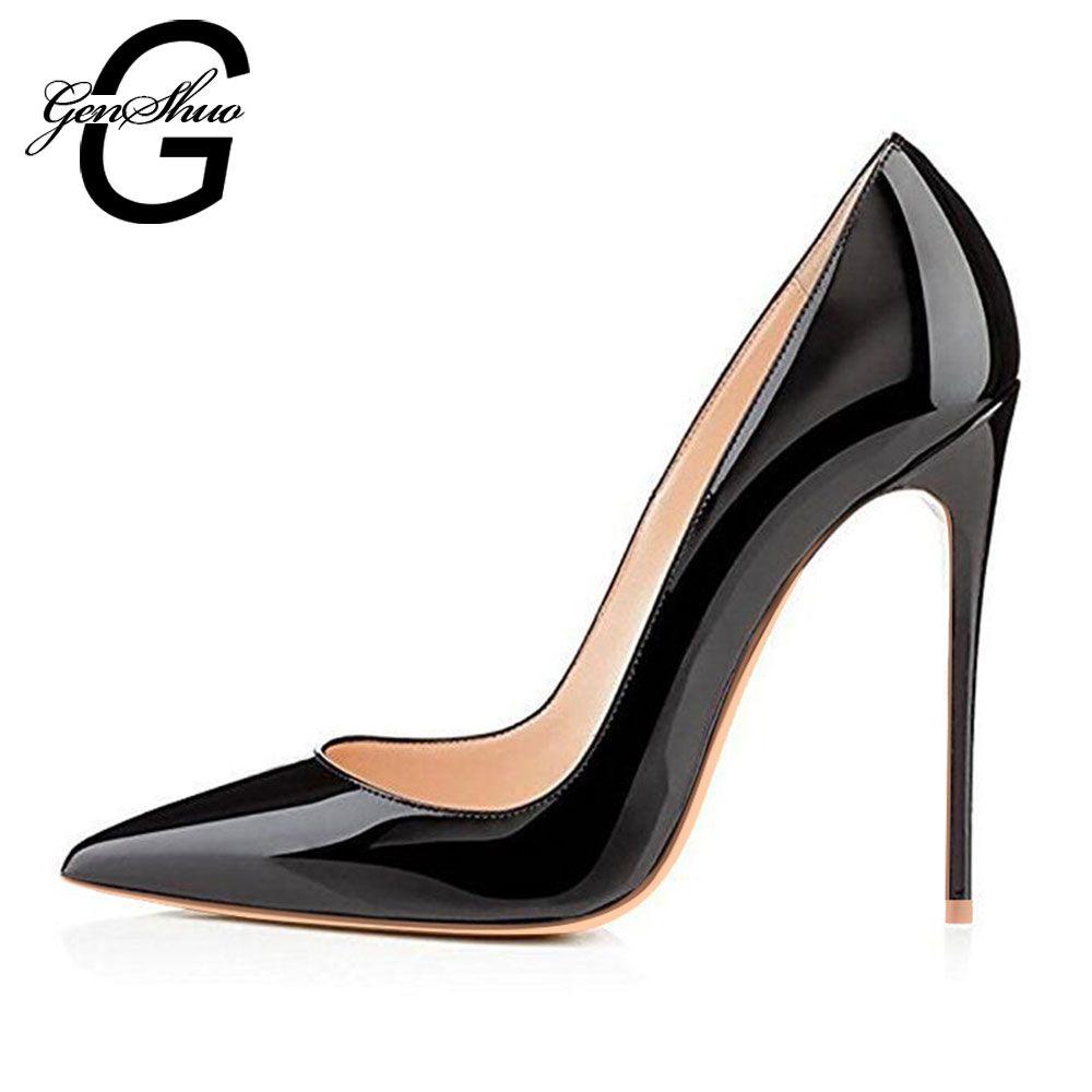 GENSHUO femme escarpins à talons hauts bureau noir chaussures bout pointu en cuir verni femmes chaussures de mariage mariée 12 CM femmes talons aiguilles