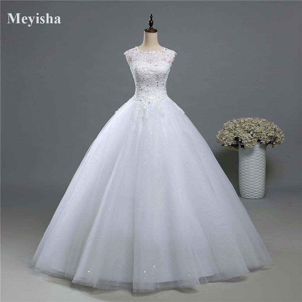 ZJ9139 Ball Gown Real Images Lace Tulle Wedding Dress 2016 2017 Bridal Dresses Plus Size Bridal Dresses Plus Size Shine Skirt