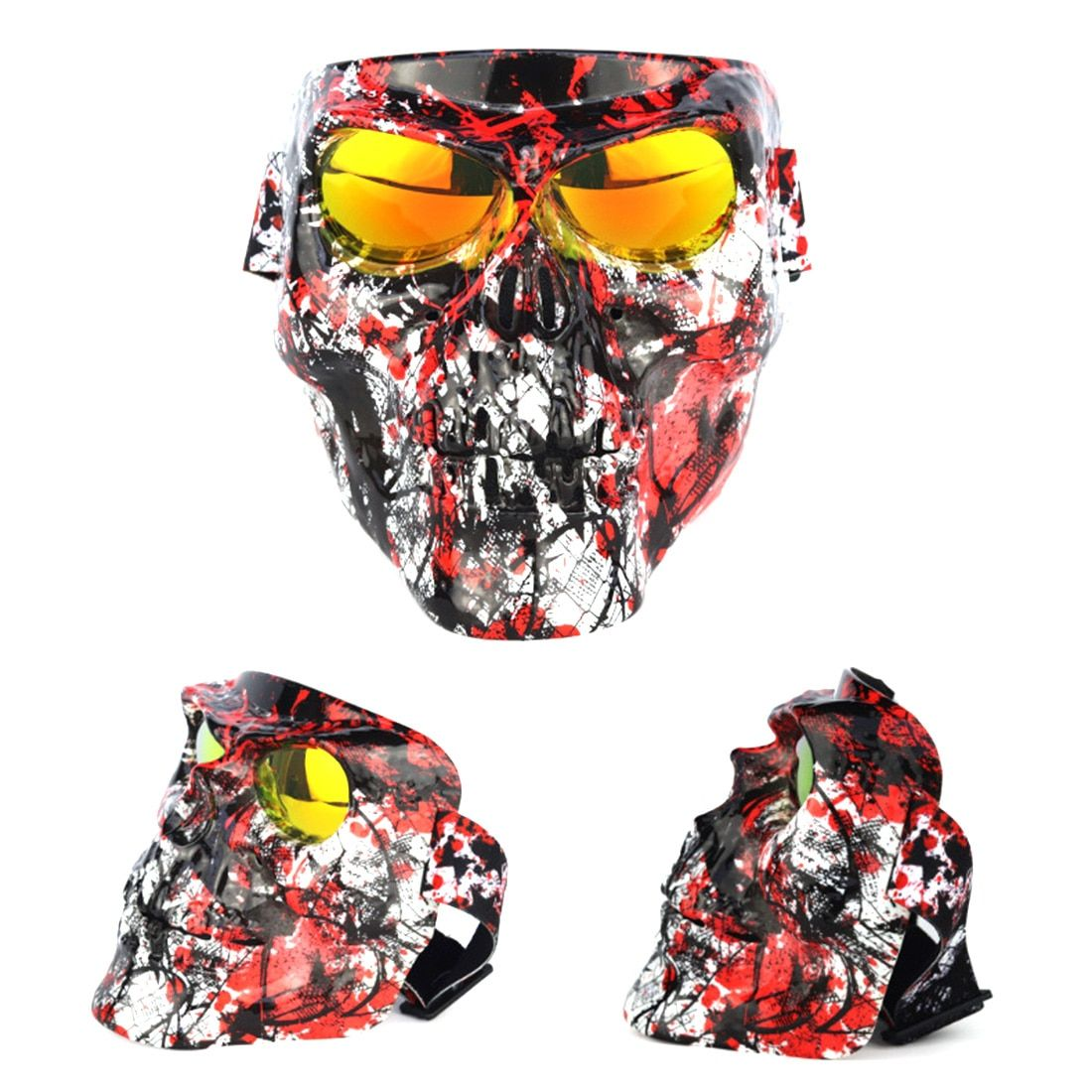 for Nerf War Games 18cm Electroplating Skull Tactical Face Mask with Windproof Goggles for Airsoft Halloween Outdoor Toys