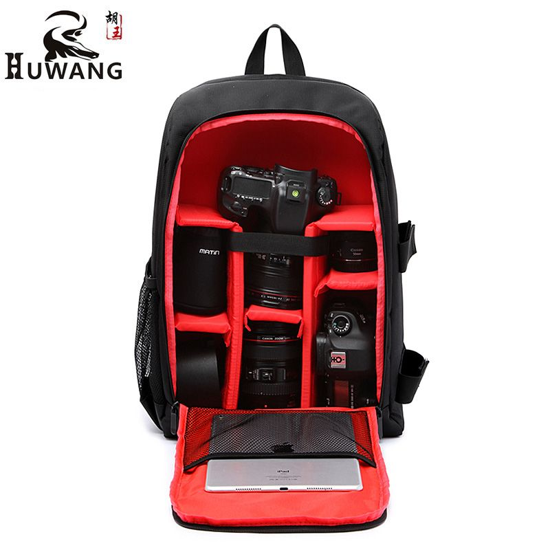 HUWANG Upgrade Waterproof DSLR Photo Padded Backpack w/ Rain Cover for 15.6