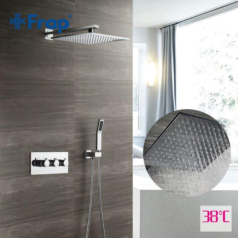 Frap Dusche Wasserhahn Chrom Wand Montiert Dusche Set Bad Verdeckte Messing Dusche Mixer Massage Dusche Köpfe Wasserfall