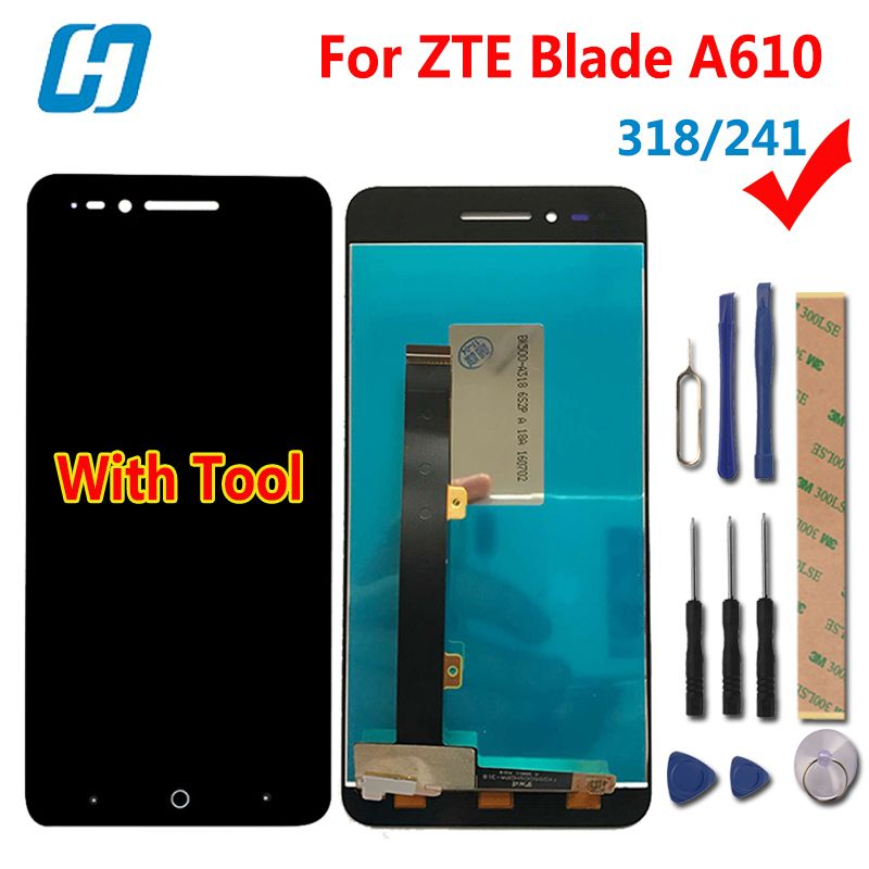 hacrin For ZTE Blade A610 LCD Display +Touch Screen 100% New Digitizer Glass Panel For ZTE Blade A610 5.0'' 318/241 Version