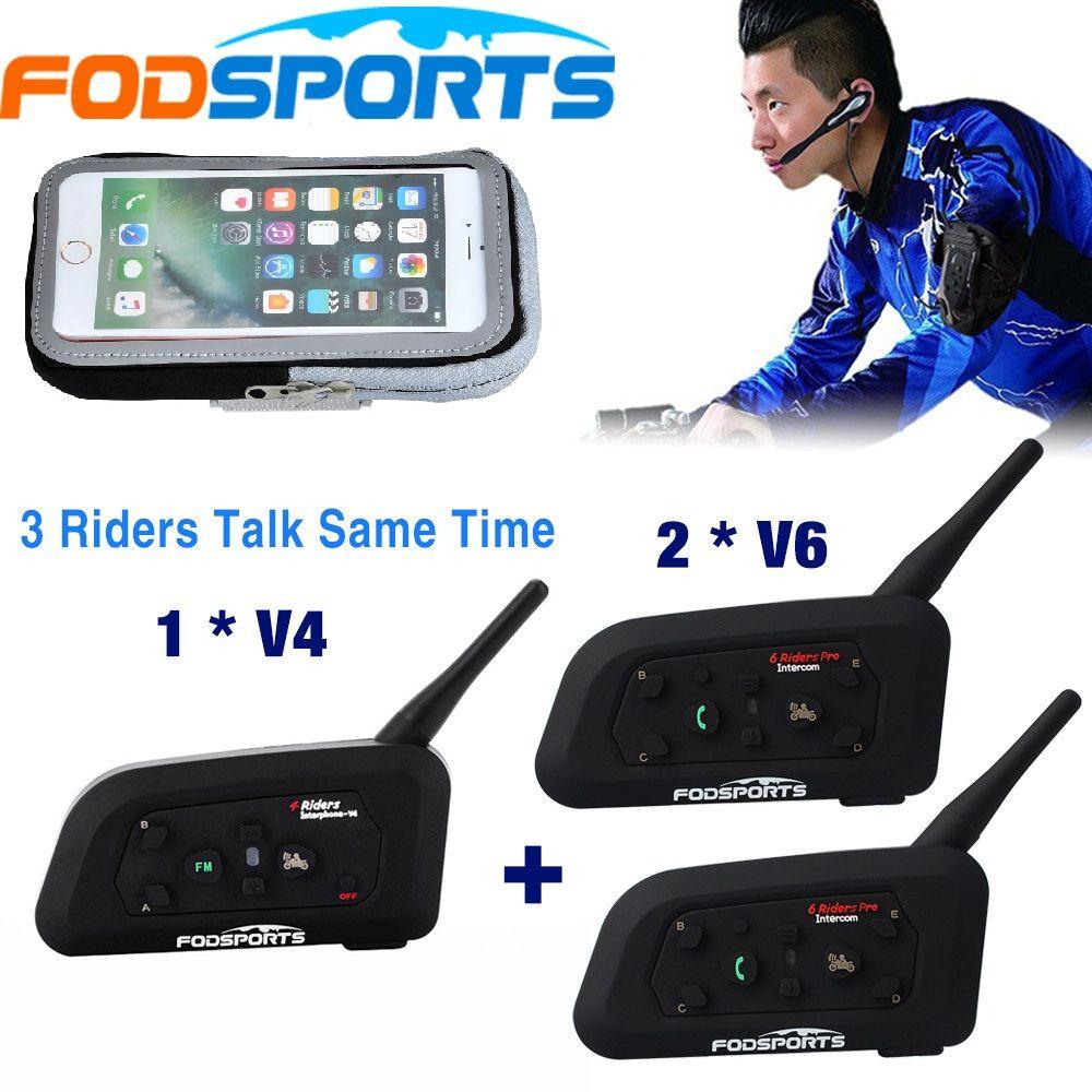 1 * V4 + 2 * V6 BT Sprech 3 Fahrer reden zur gleichen zeit für Fußball Schiedsrichter Beurteilen bike Drahtlose Bluetooth Headset Intercom