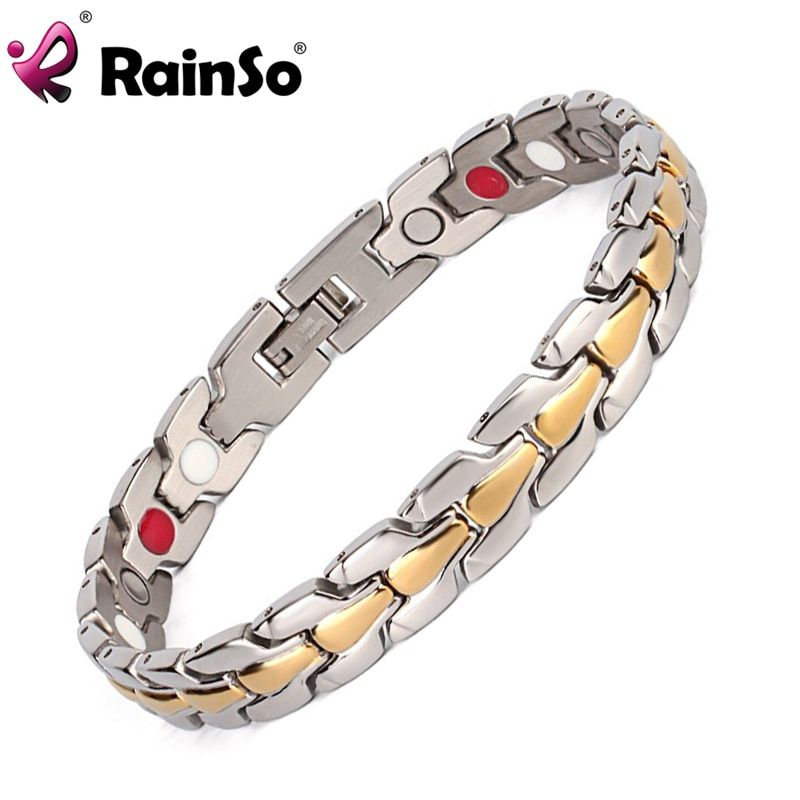 Rainso Acier Inoxydable Bracelet hommes Or/Argent Plaqué Bracelet Magnétique Bracelet (ion et SAPIN) bijoux Bracelet Bracelet Pour Hommes