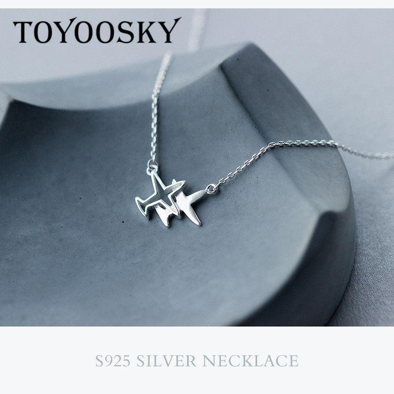 Réel 925 en argent Sterling S925 collier en argent Double avion avion pendentif collier avion mode bijoux chaîne nouveau