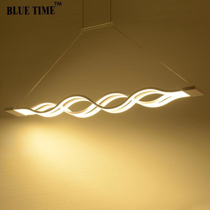 120 CM Blanc Noir moderne lampes suspendues pour salle à manger salon cuisine dimmable led Suspendu Lampe lamparas Vague forme