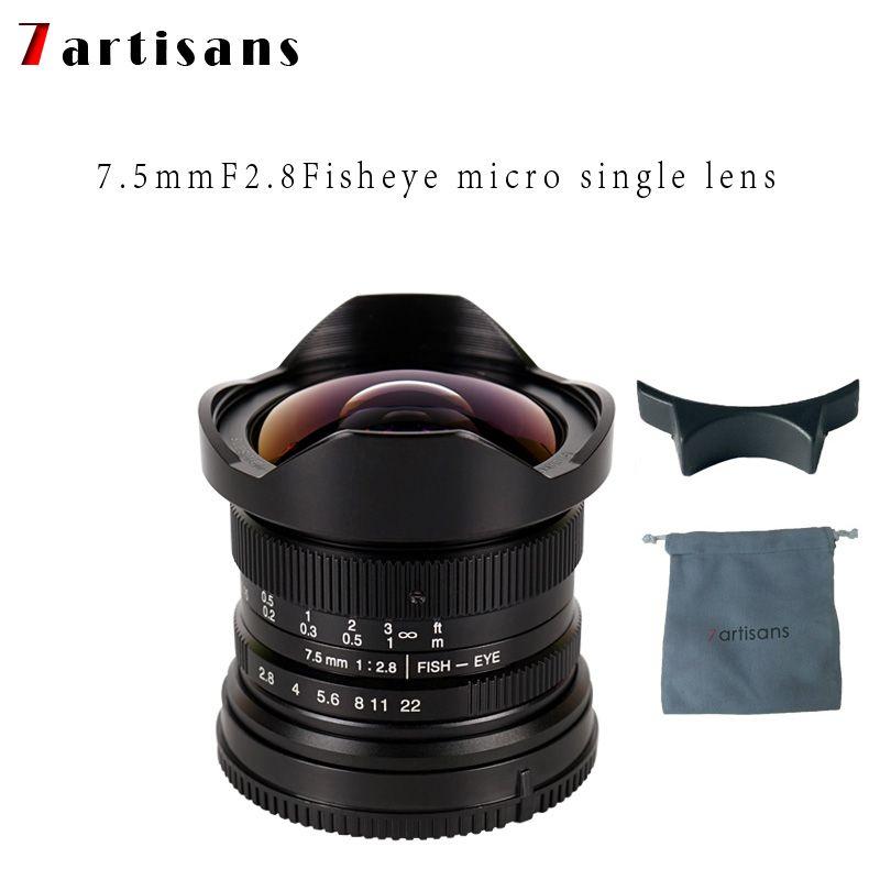 7 artisans 7.5mm f2.8 objectif fisheye 180 APS-C Manuel Objectif Fixe Pour E Montage Canon EOS-M Mont Fuji FX montage Vente Chaude Livraison Gratuite