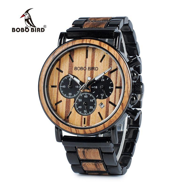 BOBO oiseau montre en bois hommes erkek kol saati luxe élégant bois montres chronographe militaire Quartz montres en bois boîte-cadeau