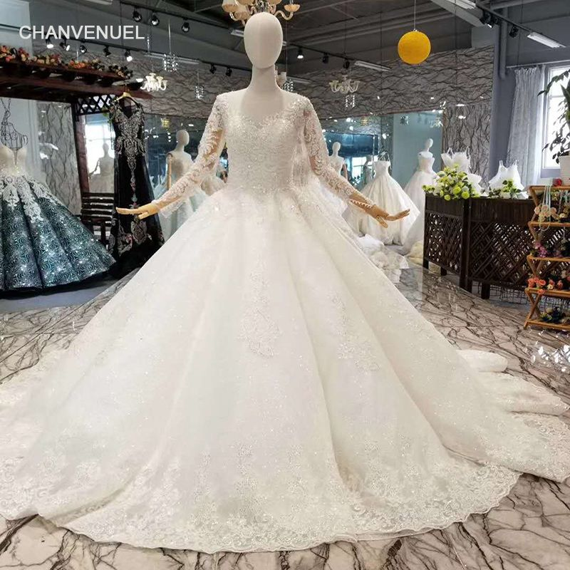 LSS058 muslimischen hochzeit kleid o neck long sleeve lace up zurück braut hochzeit kleider 2018 china fabrik großhandel schnelle versand