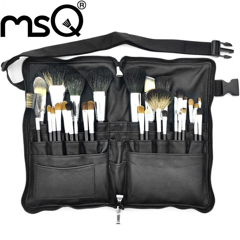 MSQ Make-Up Pinsel Set Pro 32 stücke Hohe Qualität Weiche Tier Haar Foundation Lidschatten Make-Up Pinsel Kit Mit PU leder Gürtel Fall